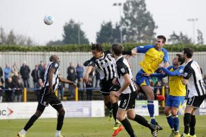 Ben Martin heads for goal during St Albans City's disappointing 4-1 defeat against Bath City. Picture: Leigh Page