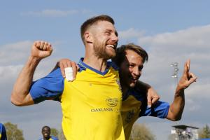 David Noble celebrates his brace which earned a last-gasp equaliser against East Thurrock. Picture: Leigh Page