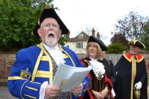 The Mayor of the City and District of St Albans lead the traditional Beating the Bounds ceremony