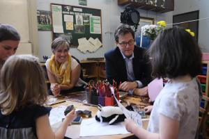 Nick Clegg and Daisy Cooper chat to the Montessori children during their visits Pic: John Cobb