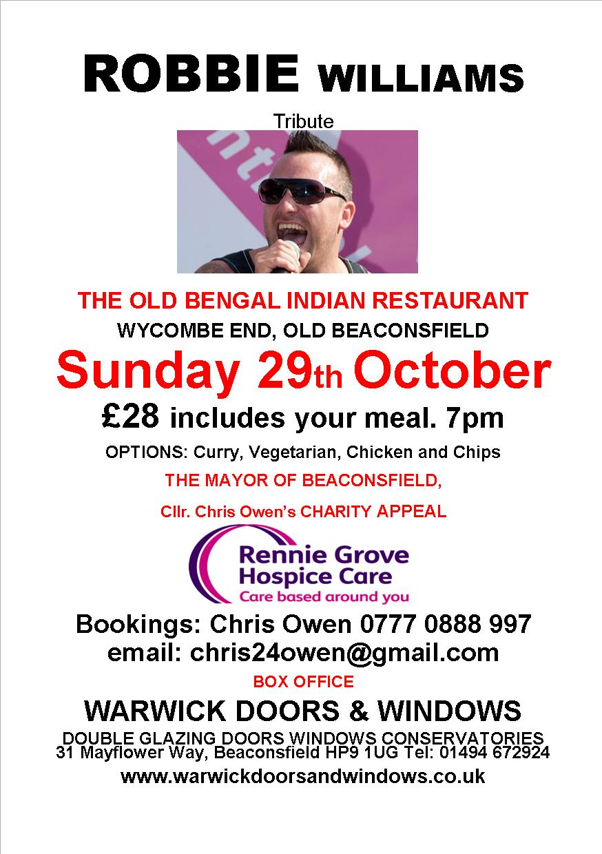 Robbie Williams tribute evening in aid of Rennie Grove Hospice Care