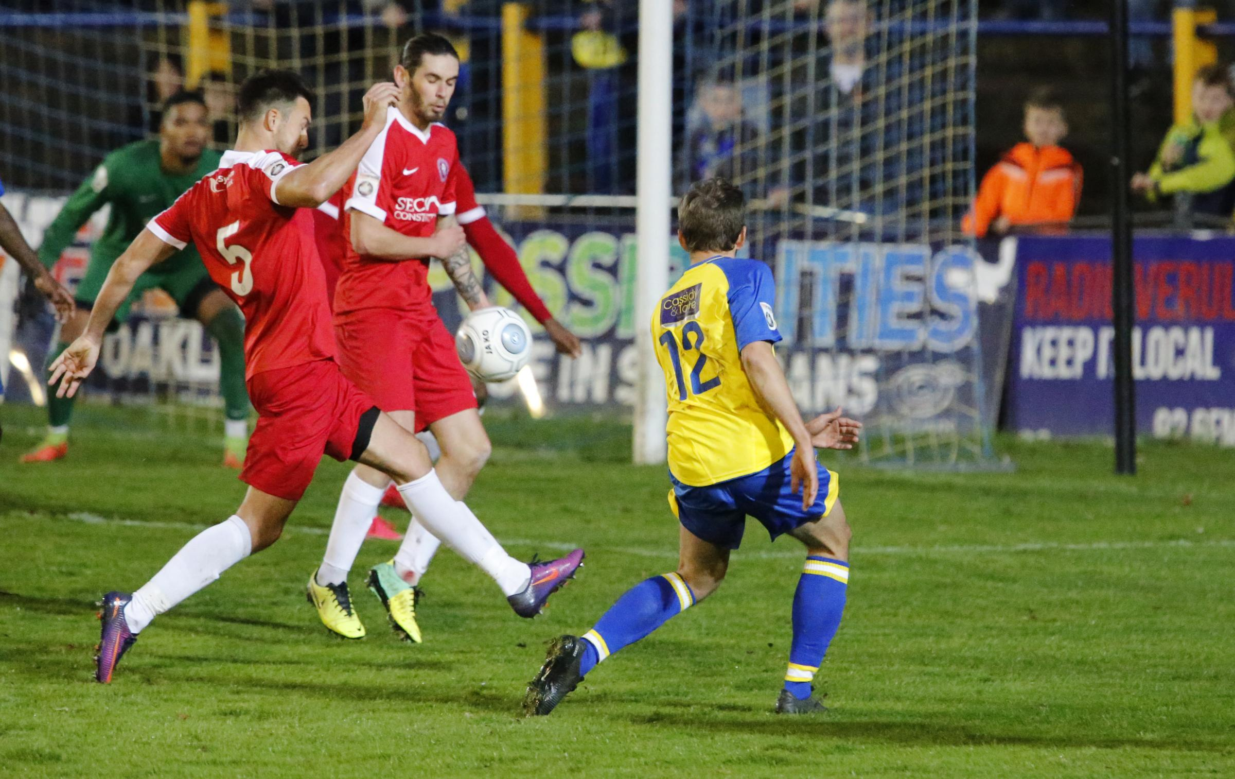 Sam Merson has a shot during Saturday's loss to Welling United. Picture: Leigh Page