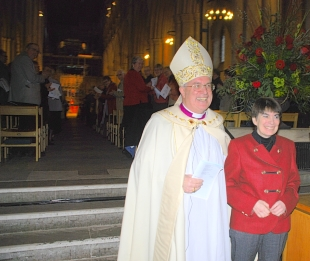 The Right Reverend Christopher Herbert with his wife Jan, during Sunday's service.