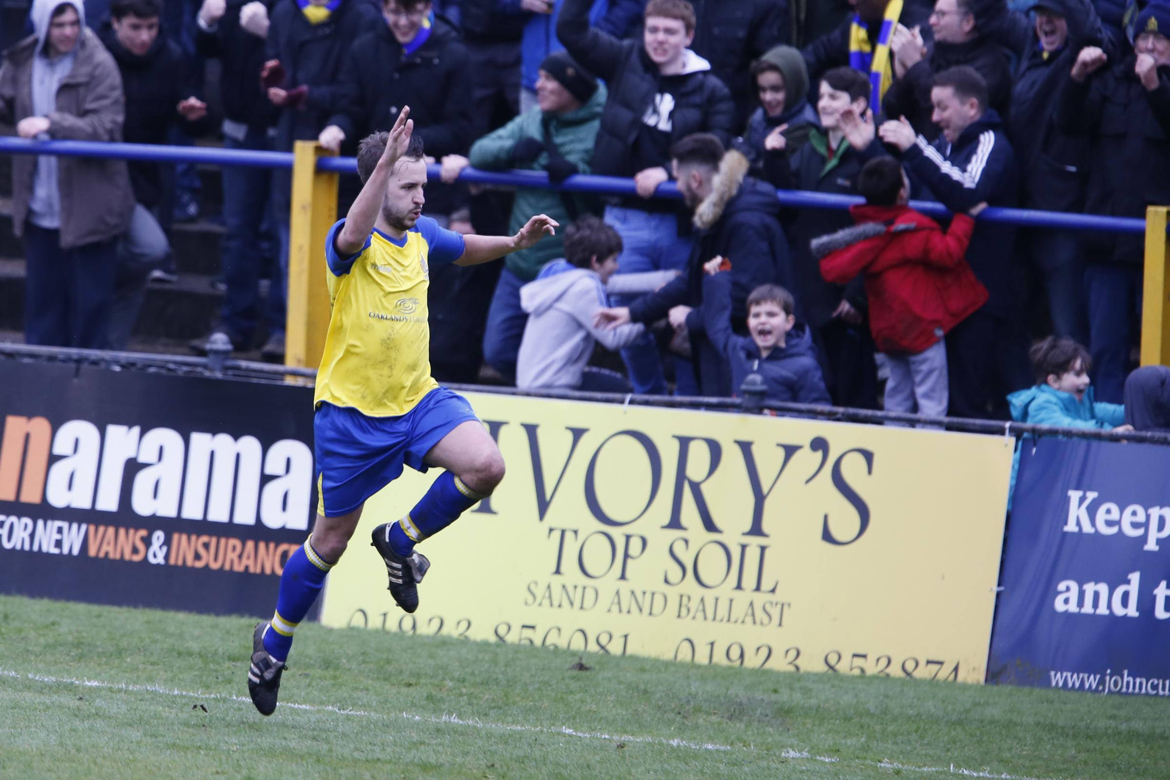 Sam Merson scores celebrates his second goal against Braintree Town. Leigh Page