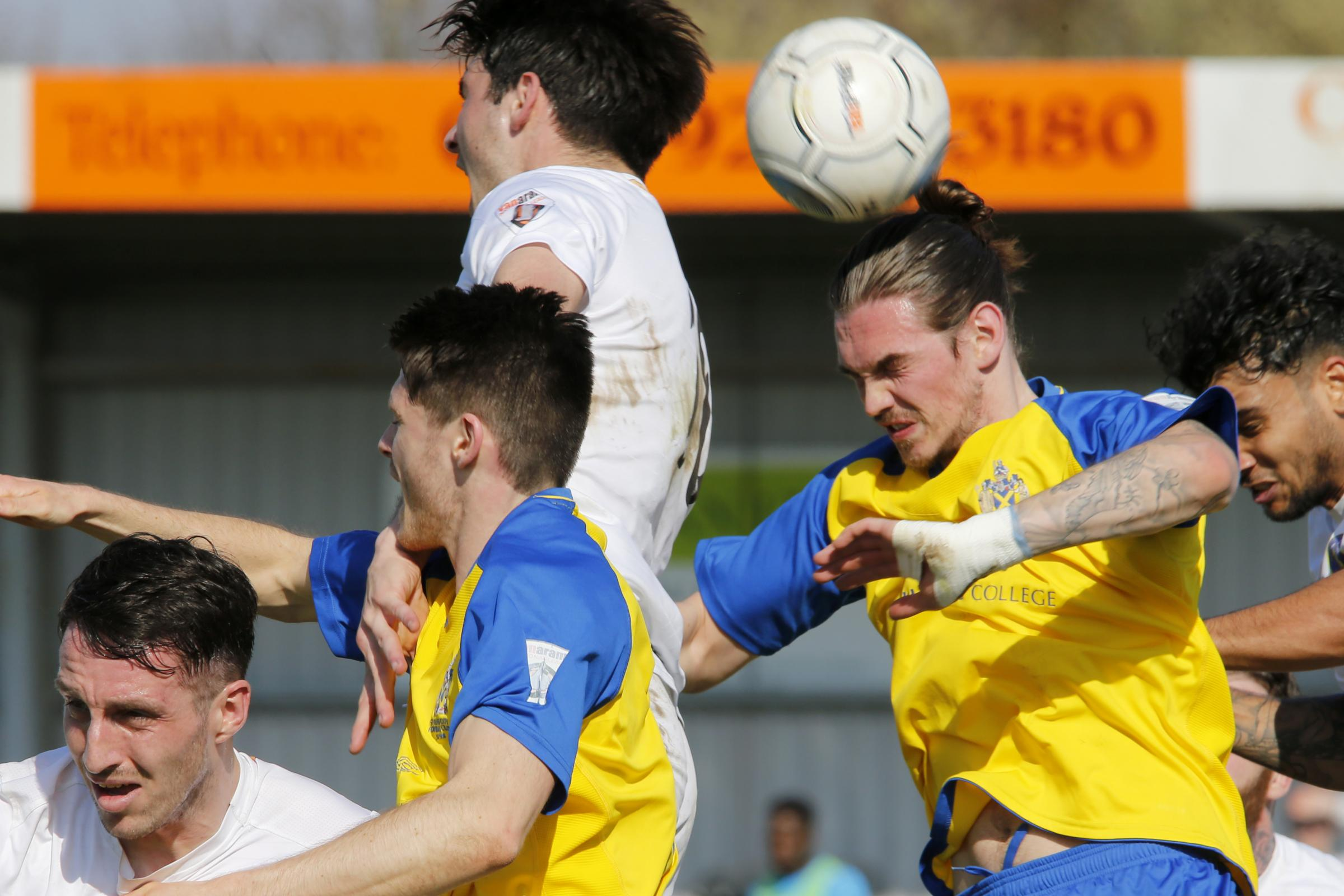Tom Bender was denied a penalty after an apparent foul by the Havant keeper on Saturday. Picture: Leigh Page