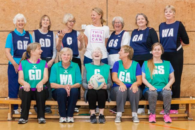 Walking netball players at William Penn Leisure Centre