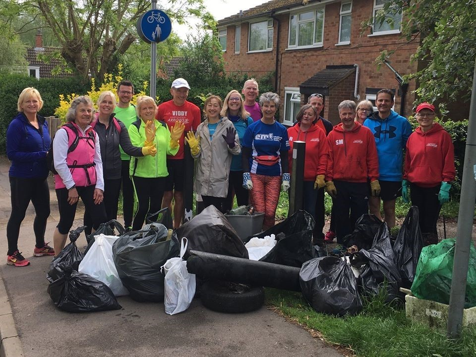 Members of Harpenden Arrows running club combined jogging with picking up litter in the Swedish practice of plgging on Sunday