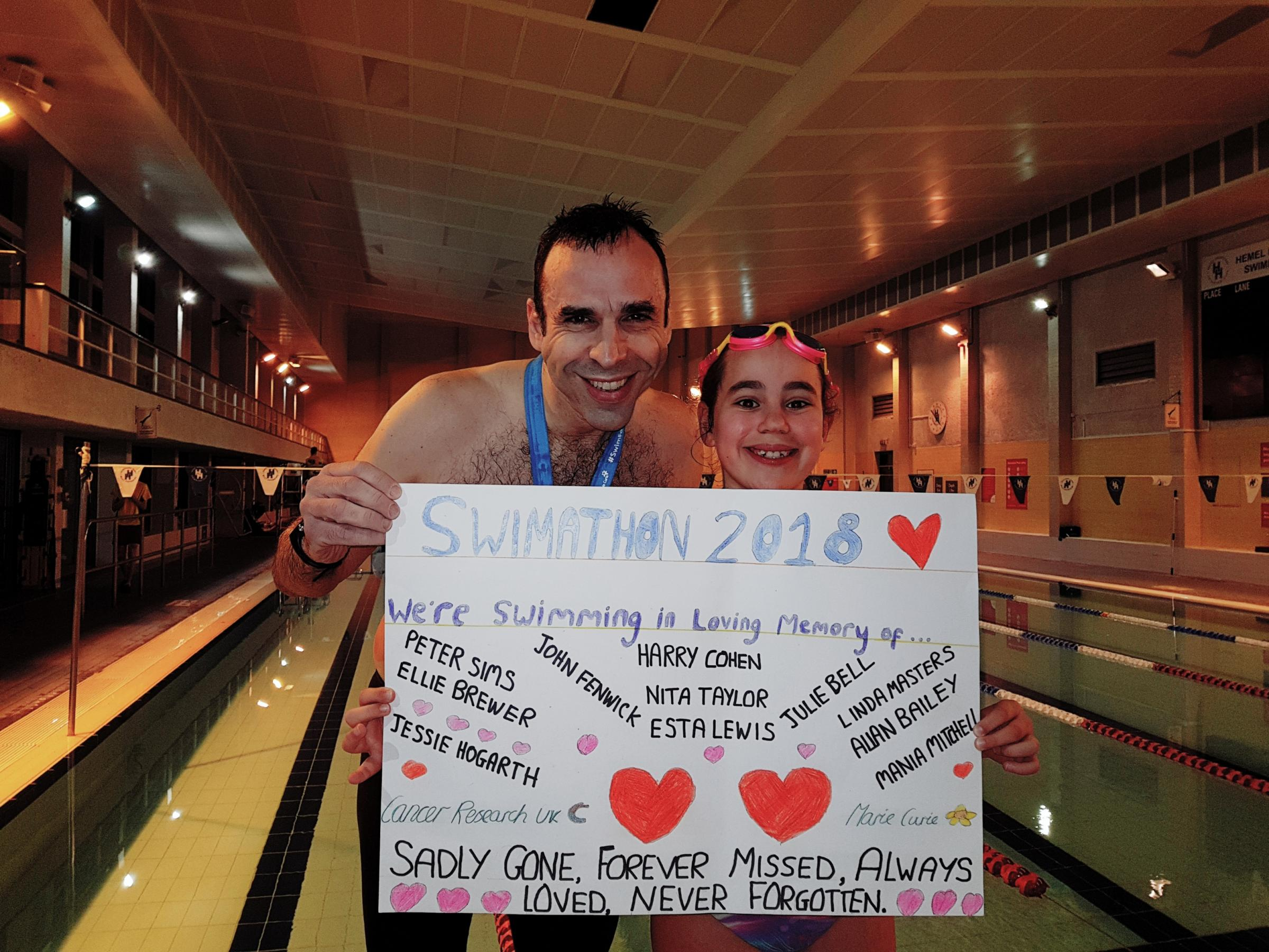 Father and daughter dive in for 'world's biggest swimathon'
