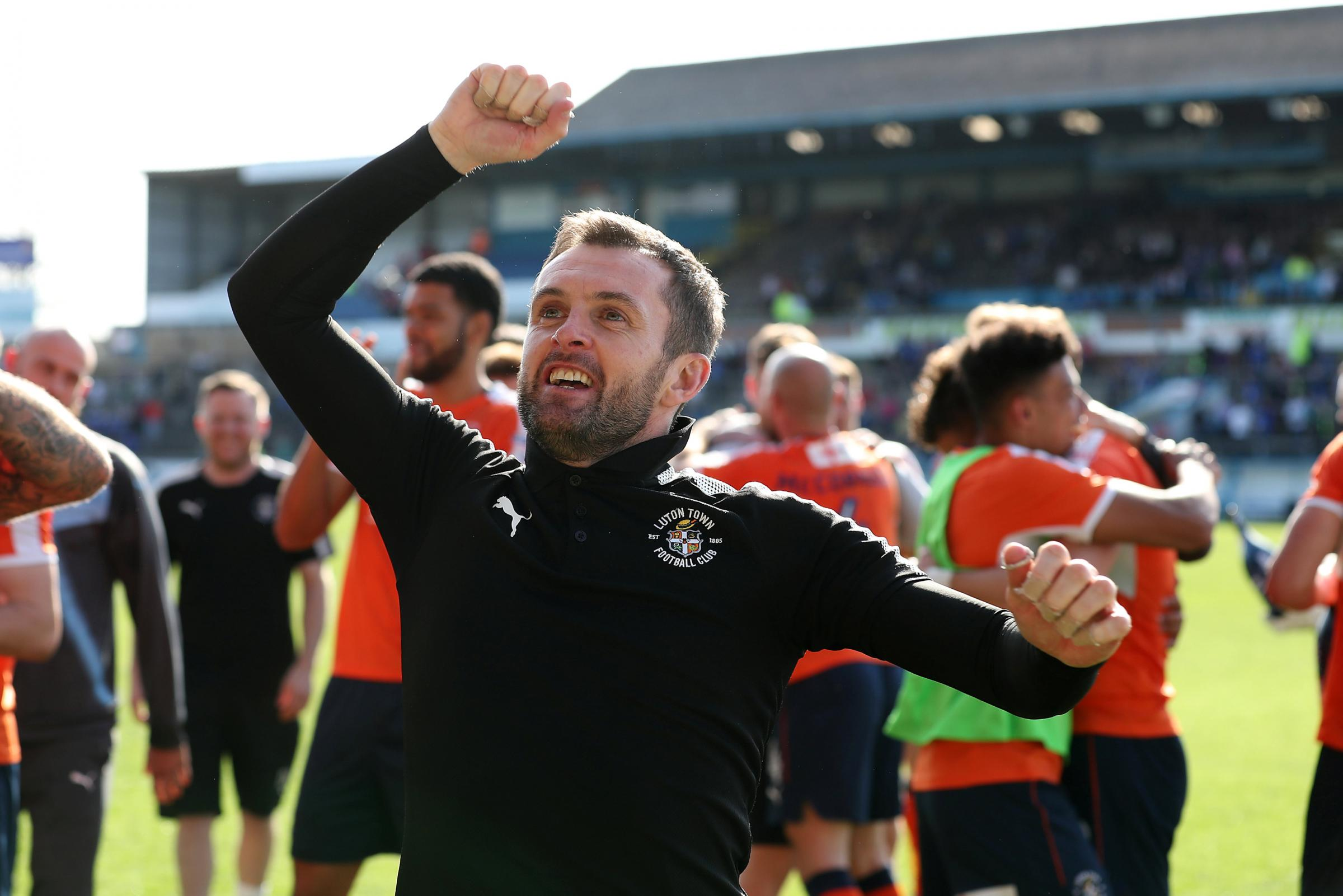 Nathan Jones will bring his newly-promoted Luton Town side to Clarence Park next month. Picture: Action Images