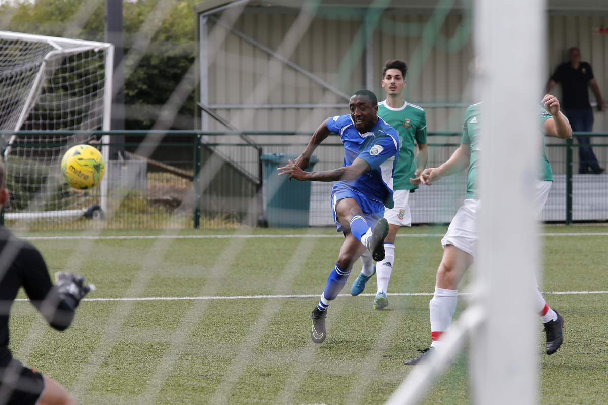 Ralston Gabriel fires home his first City goal. Picture: Leigh Page