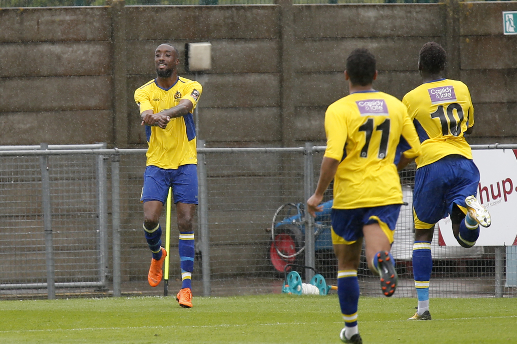 Ralston Gabriel celebrates his equaliser. Picture: Leigh Page