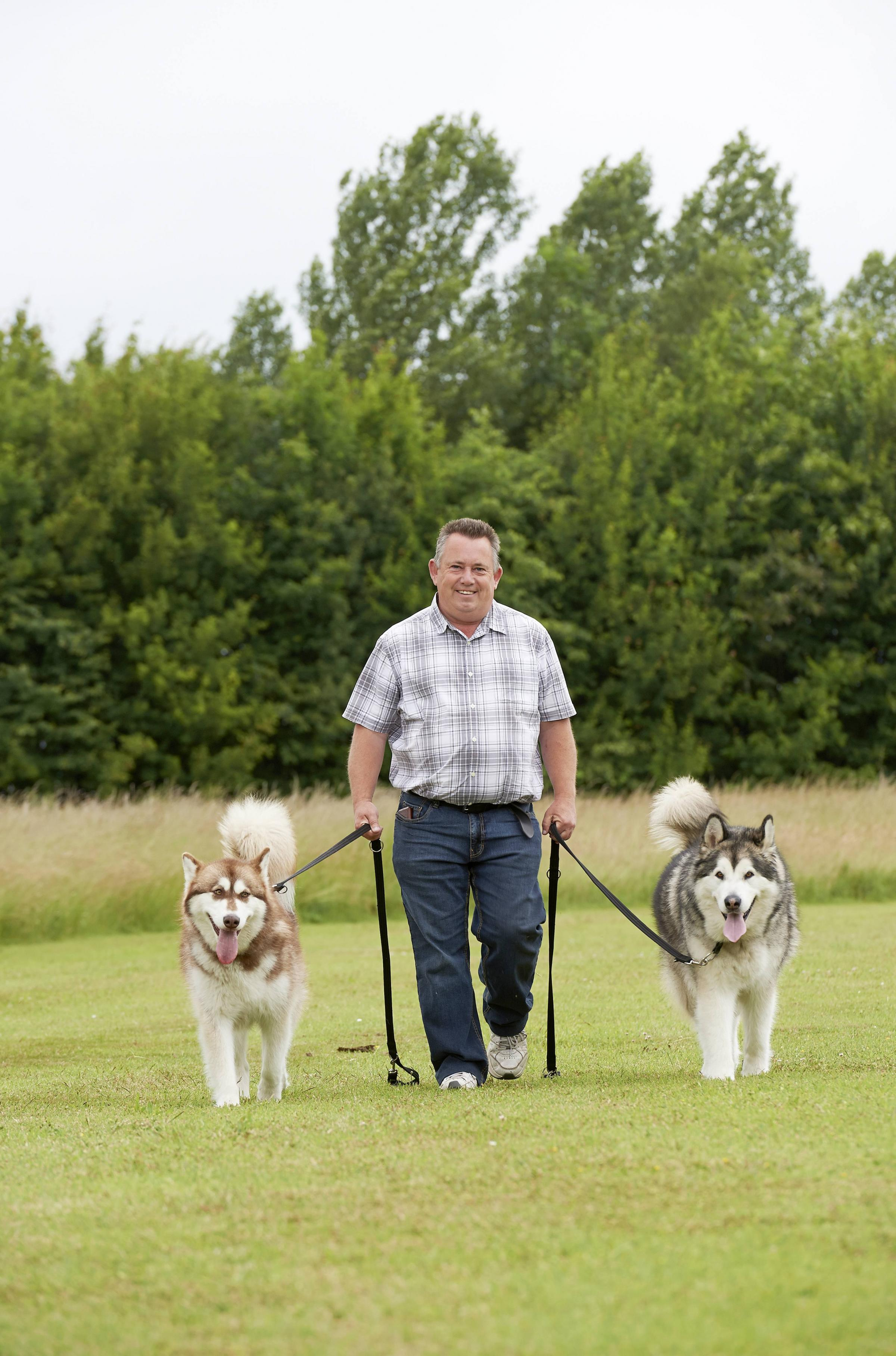 Helihounds participant Paul Levine and his Alaskan Malamutes
