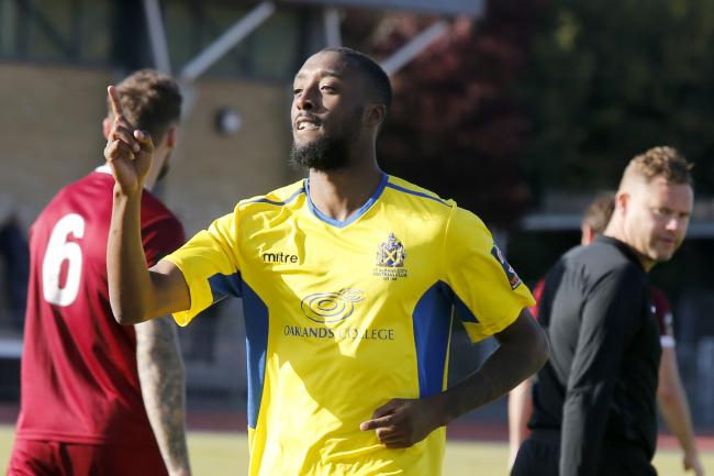 Ralston Gabriel celebrates scoring in the win over Chelmsford City. Picture: Leigh Page