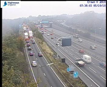 Queues are backing up on the motorway but since the lorry was taken away traffic will be returning back to normal, photo by Highways England