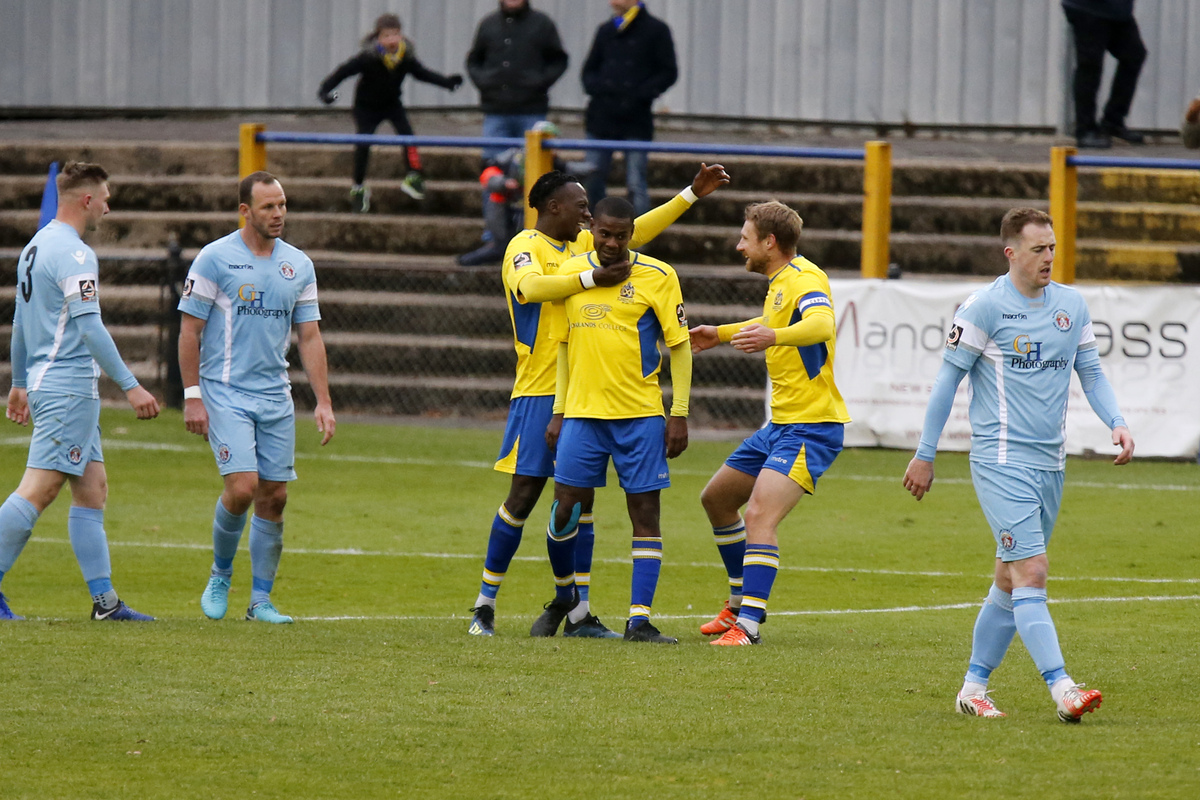 David Noble and Khale Da Costa celebrate David Moyo's strike which put the Saints into a 3-1 lead. Picture: Leigh Page