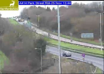 Live images show traffic held at the top of the picture on the A414. Picture: Herts Highways