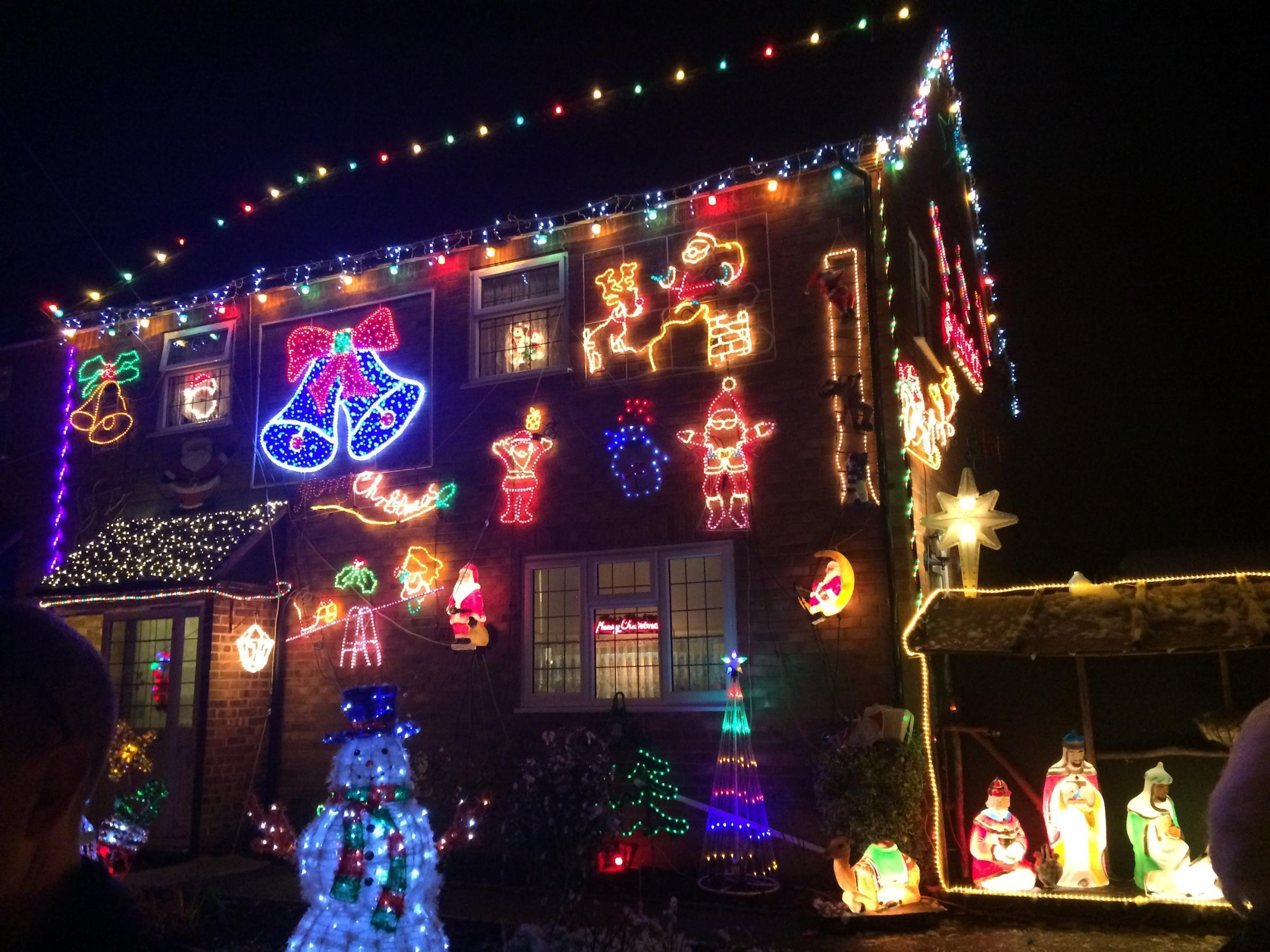 David Press displays around 5,000 lights at his home in Battlers Green Drive, Radlett, every year