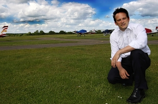 Grant Shapps at Panshangar Airfield. Picture: Holly Cant
