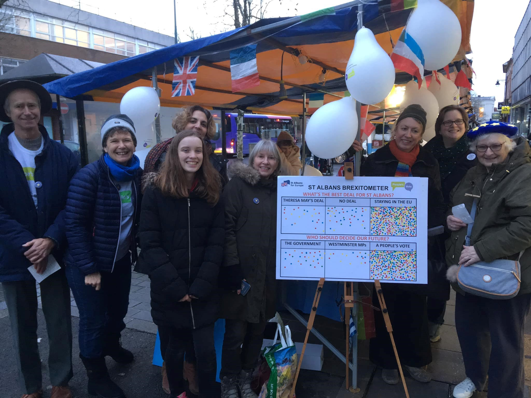 St Albans For Europe, which has been campaigning for a 'People's Vote' on the final Brexit deal, held a campaign in the city centre last Saturday to join a National Day of Action