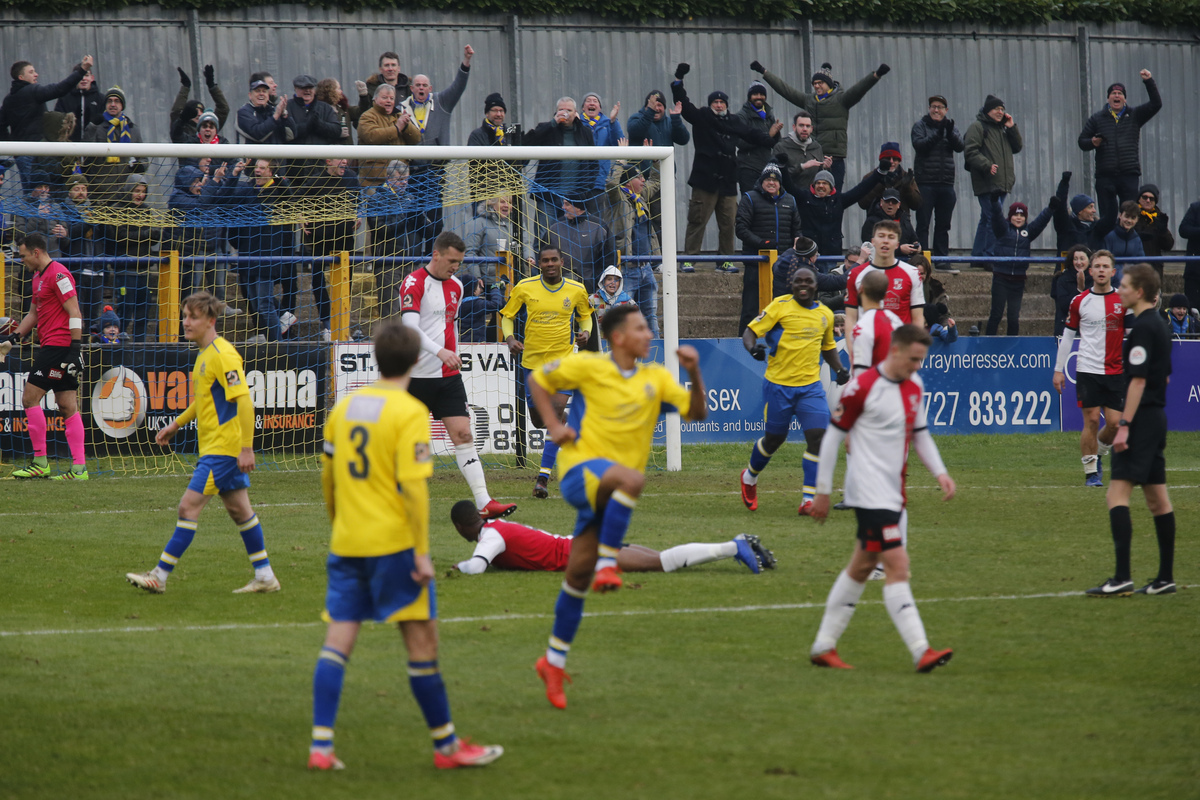 St Albans celebrate taking the lead in Saturday's draw. Picture: Leigh Page