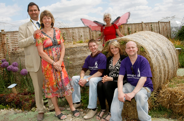 Left to right: Richard and Judy Mills, members of the Meningitis Research Foundation, Marie Mills. Pictured behind: designer Fern Alder