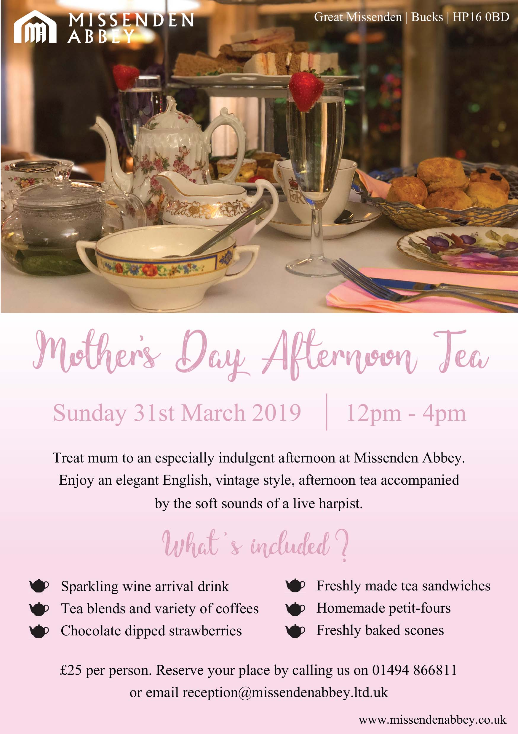 Missenden Abbey Mother's Day Afternoon Tea