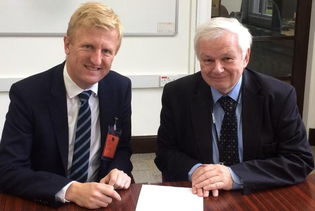 Oliver Dowden pictured with Cllr Terry Douris previously