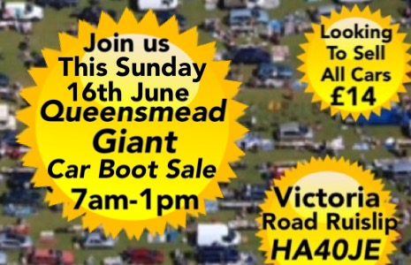 Queensmead Giant Sunday Car Boot Sale On 16 June At 07 00