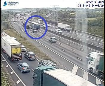 The broken down lorry near j23 which has now been moved. Photo: Highways England
